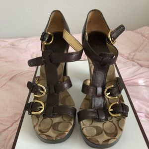 Coach Leather Joanne Newport Stacked Heels Sandals